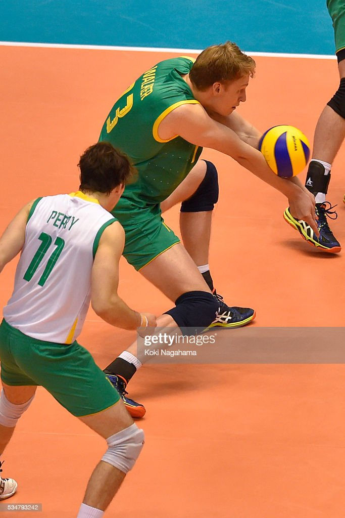Samuel Walker #13 of Iran receives the ball during the Men's World Olympic Qualification game between Iran and Australia at Tokyo Metropolitan Gymnasium on May 28, 2016 in Tokyo, Japan.