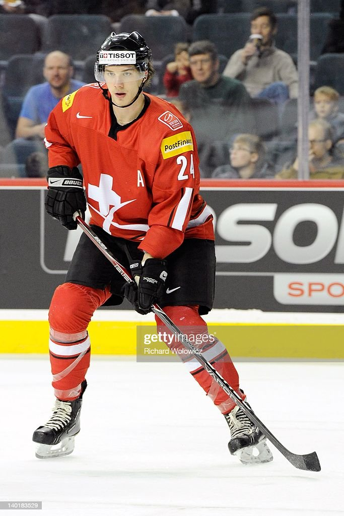Samuel Walser #24 of Team Switzerland skates during the 2012 World Junior Hockey Championship game against Team Denmark at the Saddledome on January 2, 2012 in Calgary, Alberta, Canada.