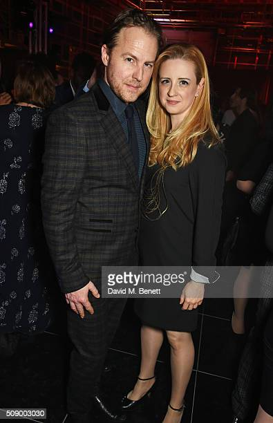 Samuel West and Laura Wade attend the London Evening Standard British Film Awards after party at Television Centre on February 7 2016 in London...