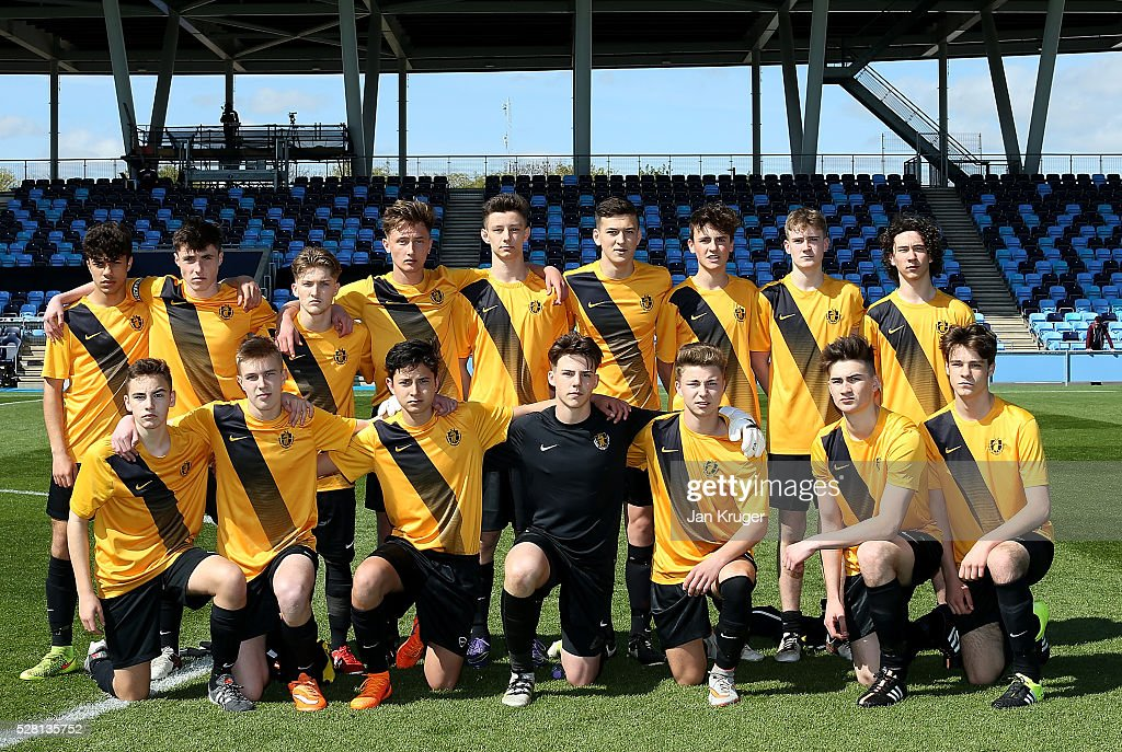 Samuel Whitbread Academy players pose ahead of the under 16 Schools' Cup final match between Thomas Telford School and Samuel Whitbread Academy at the Academy Training Ground on May 04, 2016 in Manchester, England.
