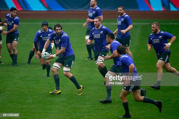 Samuel Whitelock of the All Blacks runs the ball during a New Zealand All Blacks training session at Mowden Park on October 5 2015 in Darlington...