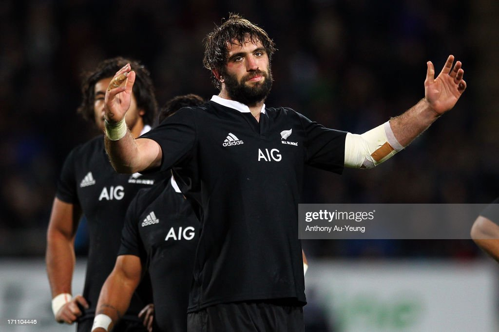 Samuel Whitelock of the All Blacks shows his frustration at the extended time spent on reviewing the TMO during the Third Test Match between the New Zealand All Blacks and France at Yarrow Stadium on June 22, 2013 in New Plymouth, New Zealand.