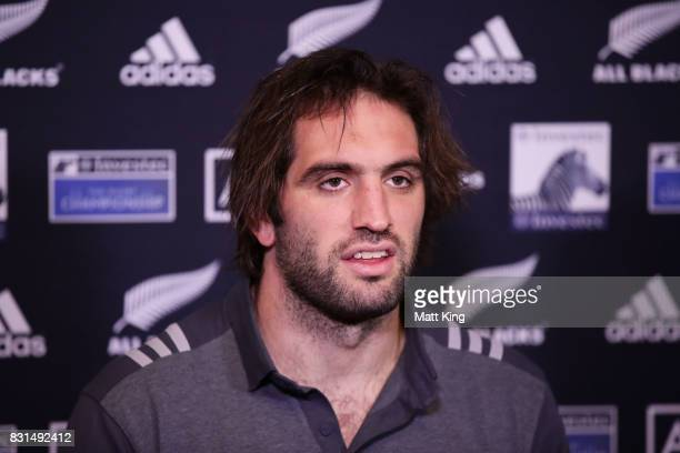 Samuel Whitelock of the All Blacks speaks to the media during a New Zealand All Blacks media session at Intercontinental Double Bay on August 15 2017...