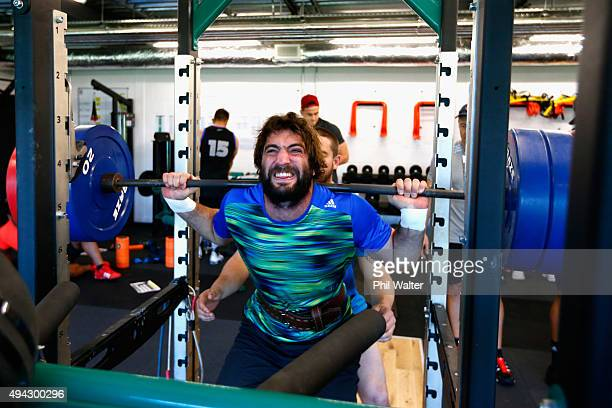 Samuel Whitelock of the All Blacks squats during a New Zealand All Blacks training session at London Irish on October 26 2015 in Bagshot United...