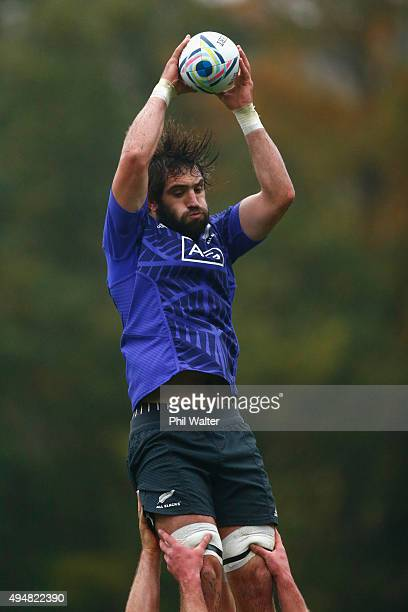 Samuel Whitelock of the All Blacks takes the ball in the lineout during a New Zealand All Blacks training session on October 29 2015 in Bagshot...