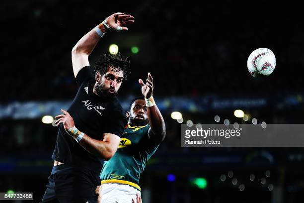 Samuel Whitelock of the All Blacks wins lineout ball during the Rugby Championship match between the New Zealand All Blacks and the South African...
