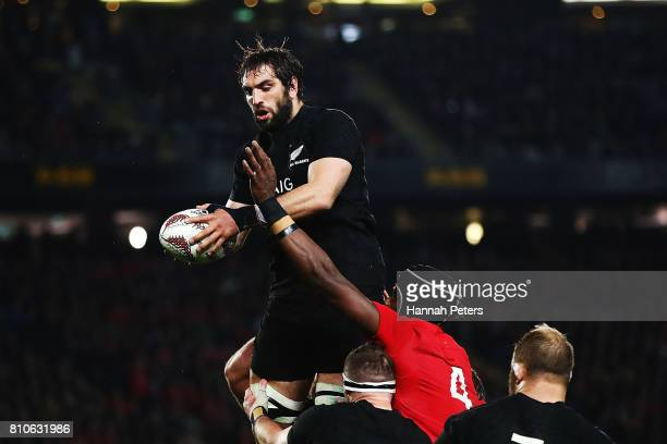 Samuel Whitelock of the All Blacks wins the lineout ball during the Test match between the New Zealand All Blacks and the British Irish Lions at Eden...
