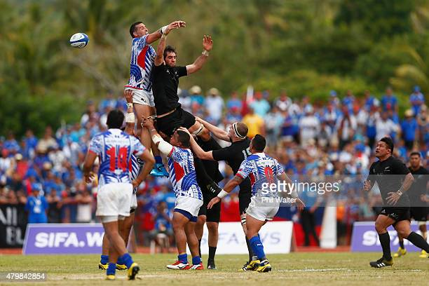 Samuel Whitelock of the New Zealand All Blacks leaps for the ball in the lineout during the International Test match between Samoa and the New...