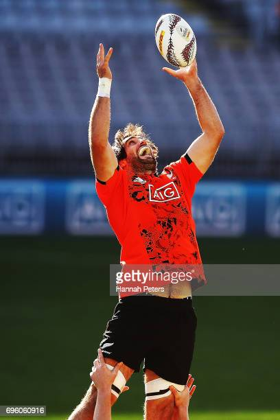 Samuel Whitelock runs through lineout drills during a New Zealand All Blacks training session at Eden Park on June 15 2017 in Auckland New Zealand