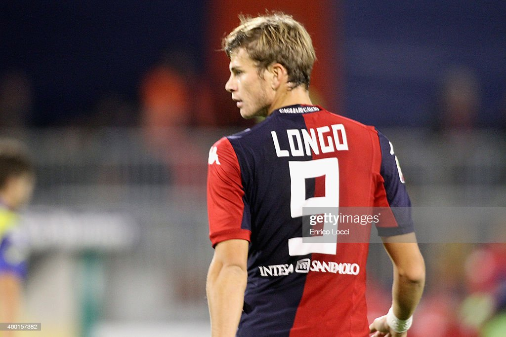 Samuele Longo of Cagliari looks on during the Serie A match between Cagliari Calcio and AC Chievo Verona at Stadio Sant'Elia on December 8 2014 in...