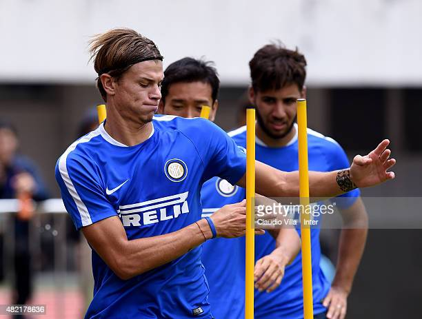 Samuele Longo of FC Internazionale in action during a training session at Tianhe Stadium on July 28 2015 in Guangzhou China