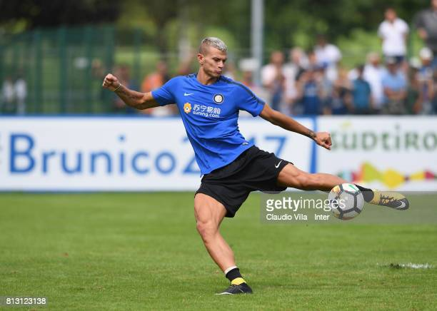 Samuele Longo of FC Internazionale in action during the FC Internazionale training session on July 12 2017 in Reischach near Bruneck Italy