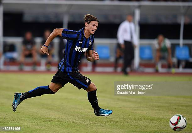Samuele Longo of FC Internazionale in action during the International Champions Cup match between AC Milan and FC Internazionale on July 25 2015 in...