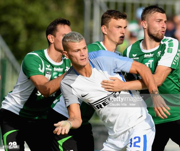 Samuele Longo of FC Internazionale in action during the Preseason Friendly match between FC Internazionale and Wattens on July 9 2017 in Reischach...
