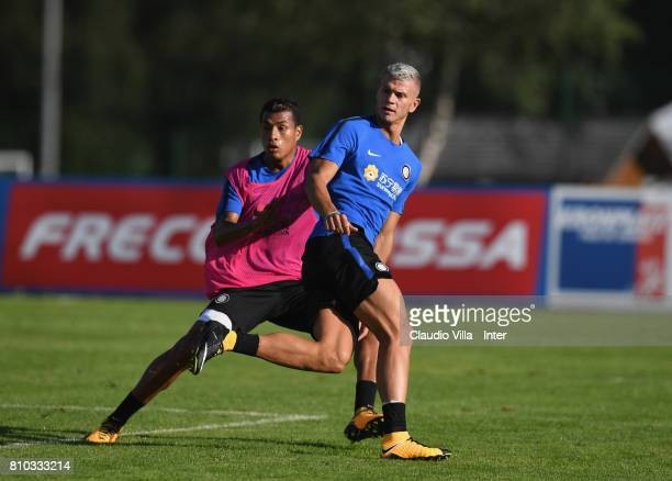 Samuele Longo of FC Internazionale Milano in action during a FC Internazionale training session on July 7 2017 in Reischach near Bruneck Italy