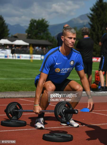 Samuele Longo of FC Internazionale Milano in action during a FC Internazionale training session on July 8 2017 in Reischach near Bruneck Italy