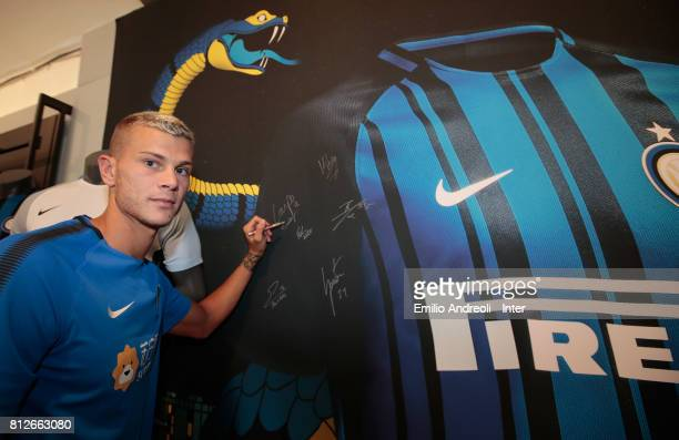 Samuele Longo of FC Internazionale Milano visits the Inter Store prior to the FC Internazionale training session on July 11 2017 in Reischach near...