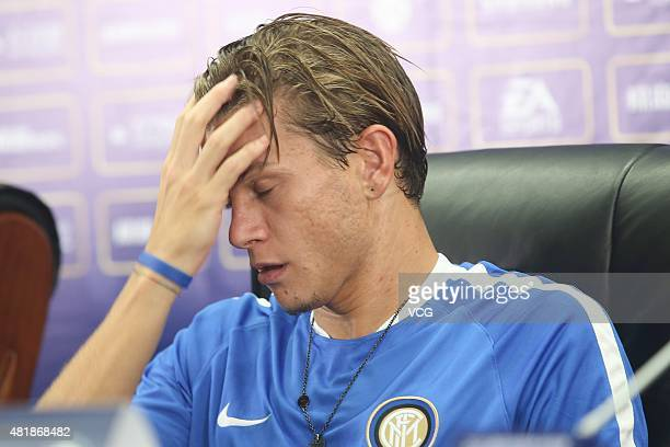 Samuele Longo of Inter Milan attends a press conference at Longgang Sports Center ahead of the International Champions Cup match between AC Milan and...