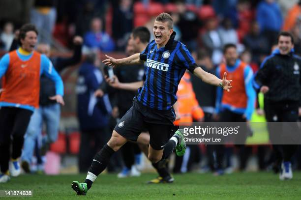 Samuele Longo of Inter Milan celebrates after Inter Milan won on penalties during the NextGen Series Final between Ajax U19 and Inter Milan U19 at...