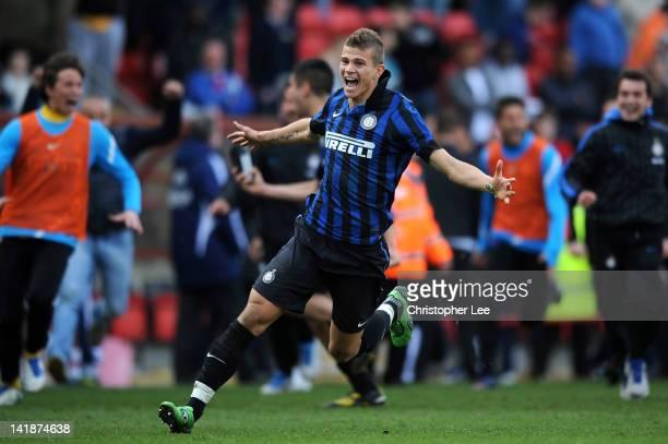 Samuele Longo of Inter Milan celebrates after Inter Milan won on penalties during the NextGen Series Final between Ajax U19 and Inter Milan U19 at...