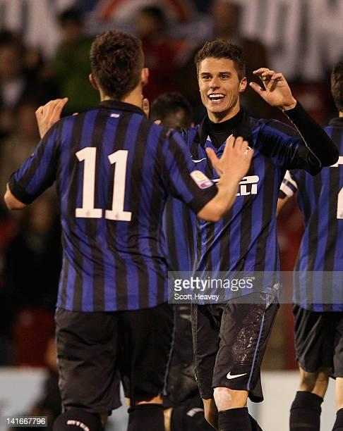 Samuele Longo of Inter Milan celebrates scoring his side's second goal with team mate Marko Livaja during the NextGen Series SemiFinal match between...