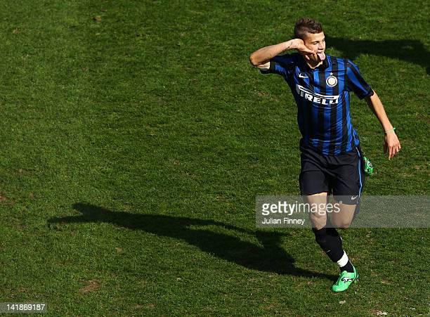Samuele Longo of Inter Milan celebrates scoring the opening goal during the NextGen Series Final between Ajax U19 and Inter Milan U19 at Matchroom...