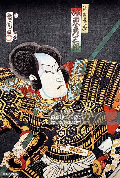 Samurai 19th century ukiyoe art print from the Kabuki theatre series woodcut Japanese civilisation Edo period 17th19th century