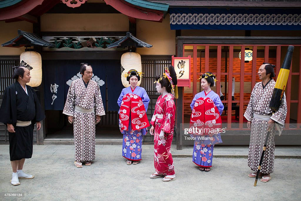 Samurai actors perform sword fights during the Uzumasa Edosakaba an event recreating an edoperiod bar at the Toei Kyoto Studio Park on May 30 2015 in...