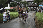 A samurai horseman leaves home for the Soma Nomaoi festival in Minamisoma Fukushima Prefecture Japan on Sunday July 24 2016 Every July hundreds of...