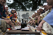 Samurai horsemen participate in the Generals' Meeting during the Soma Nomaoi festival in Minamisoma Fukushima Prefecture Japan on Saturday July 23...