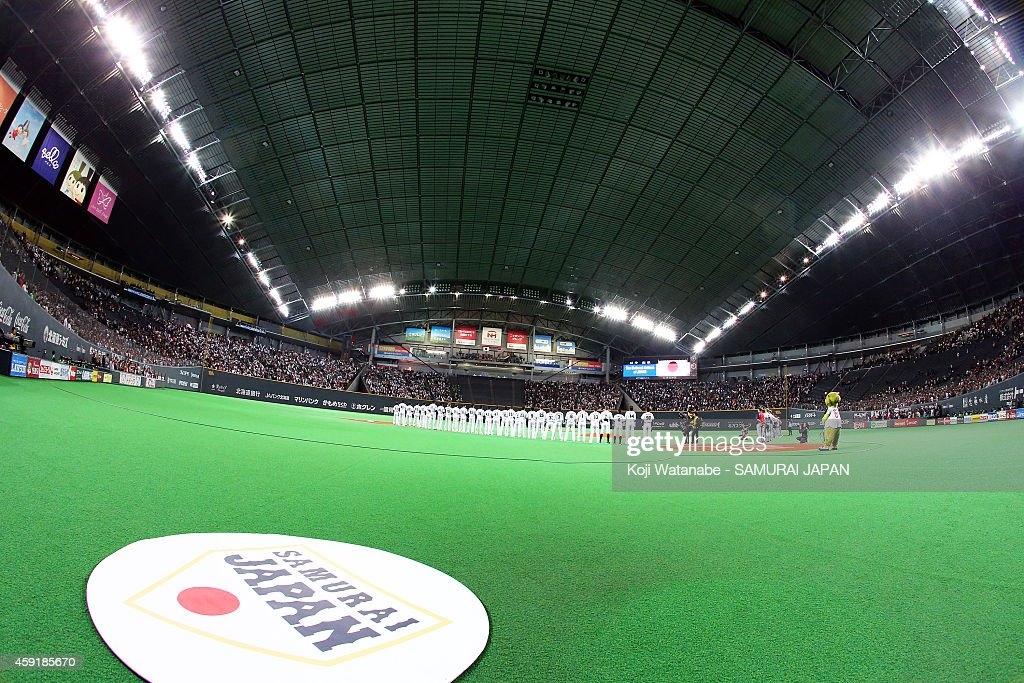 Samurai Japan team line up during the game five of Samurai Japan and MLB All Stars at Sapporo Dome on November 18, 2014 in Sapporo, Hokkaido, Japan.