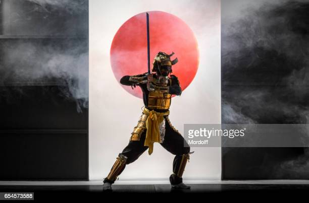 Samurai On Symbol of Japan Background