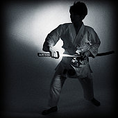 Samurai taking out a sword from a sheath
