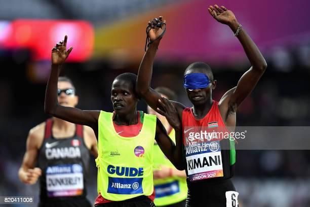 Samwel Mushai Kimani of Kenya celebrates after winning the Mens 1500m T11 final during day eight of the IPC World ParaAthletics Championships 2017 at...
