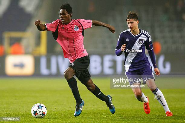 Samy Bourard of Anderlecht attempts to stop Lumor Agbenyenu of Porto during the UEFA Youth League quarter final match between RSC Anderlecht and FC...