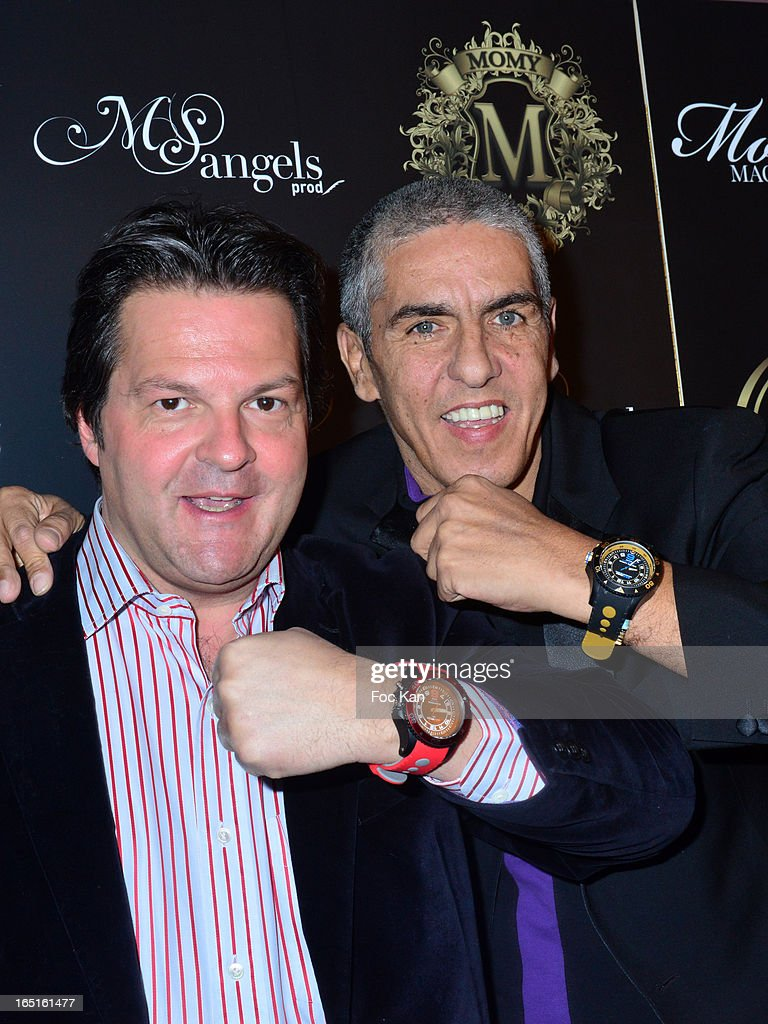 Samy Naceri (R) and his new sponsor ITAnano Watch CEO Yvan Le Dour attend the 'OmarJeans' Launch Party At The Pavillon Champs Elysees on March 31, 2013 in Paris, France.