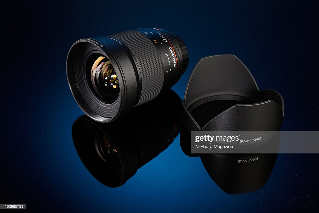 A Samyang 24mm f/1.4 ED wide angle lens and hood, taken on February 21, 2012.