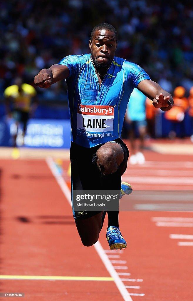 Samyr Laine in action during the Mens Triple Jump during the Sainsbury's Grand Prix Birmingham IAAF Diamond League at Alexander Stadium on June 30, 2013 in Birmingham, England.
