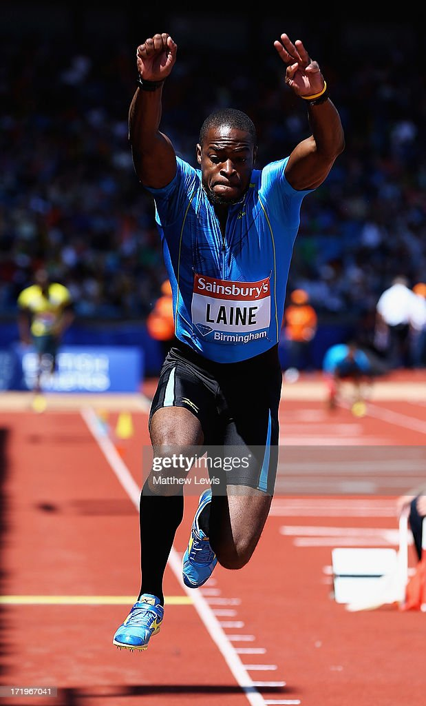 Samyr Laine in action during the Mens Triple Jump during the Sainsbury's Grand Prix Birmingham IAAF Diamond League at Alexander Stadium on June 30, 2013 in Birmingham, England.