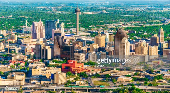 San Antonio cityscape skyline aerial view from helicopter