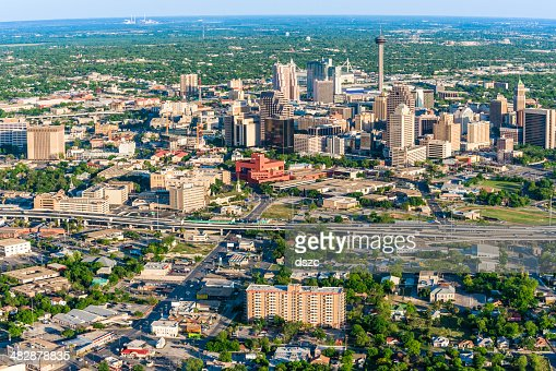 San Antonio cityscape skyline aerial view