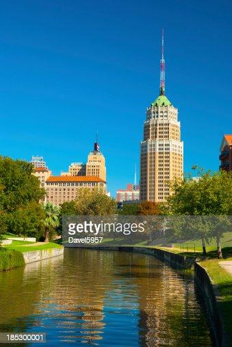 San Antonio Downtown Skyline and Riverwalk (Vertical)