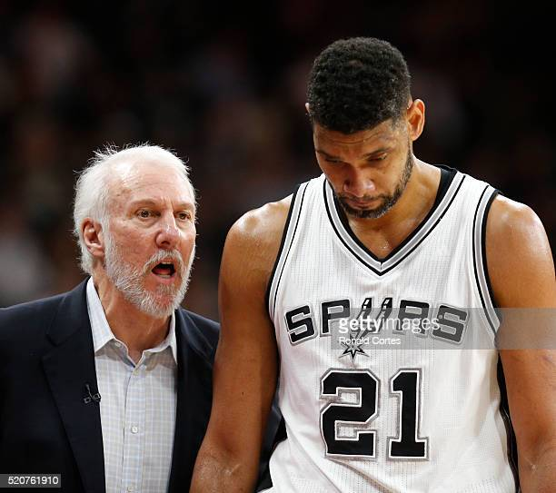 San Antonio head coach Gregg Popovic talks with Tim Duncan of the San Antonio Spurs as he comes out against the Oklahoma City Thunder at ATT Center...