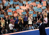 San Antonio Mayor Julian Castro leaves the stage after giving the keynote address on stage during day one of the Democratic National Convention at...
