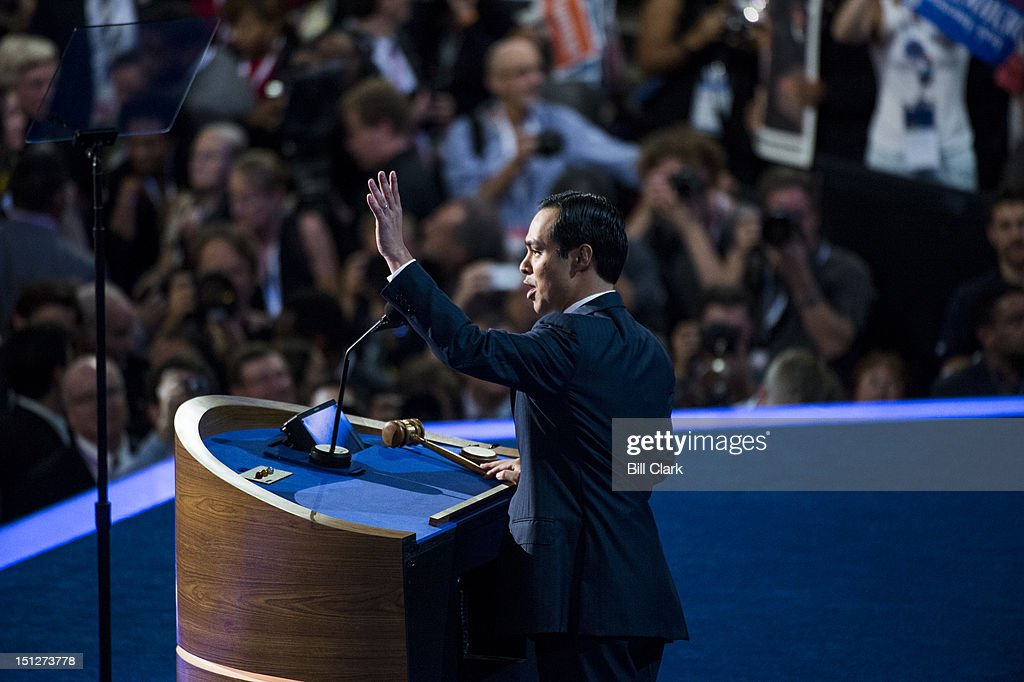 San Antonio Mayor Julian Castro speaks to the Democratic National Convention at Time Warner Cable Arena in Charlotte, N.C., on Tuesday, Sept. 4, 2012.