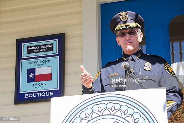 San Antonio Police Department Chief William McManus speaks during the grand opening of Marisol Deluna New York Design Studio and Educational...