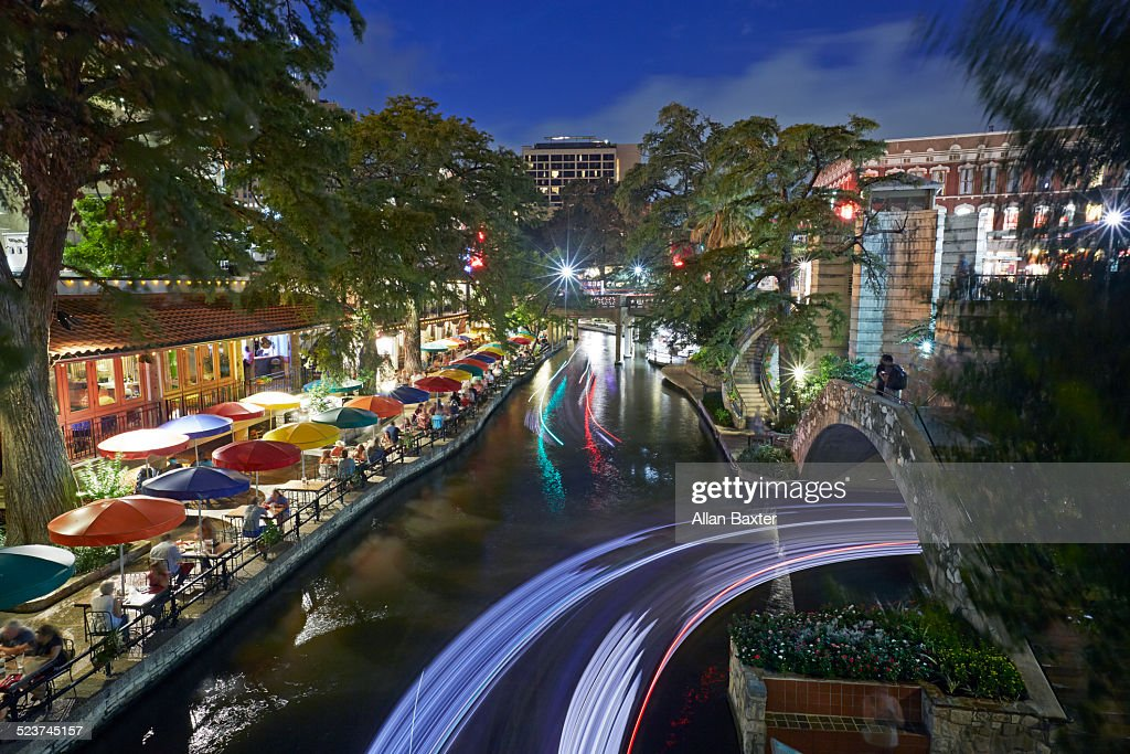 San Antonio river walk illuminated at night
