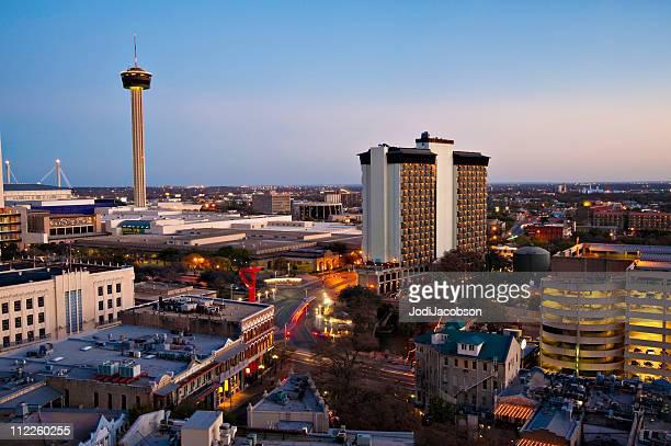 Vista aérea del horizonte de la ciudad de San Antonio