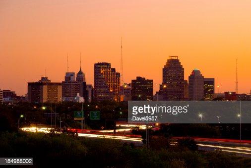 San Antonio skyline and highway at dusk