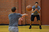 San Antonio Spurs Assistant Coach Chad Forcier runs a work out with Danny Green and Ray McCallum at Bishop High School in Santa Barbara California on...